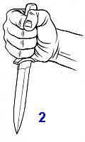 для жесткой фиксации ножа боец плотно охватывает пальцами рукоять