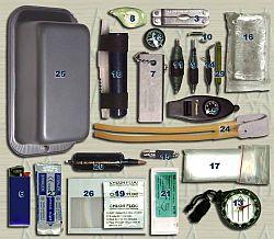 Индивидуальный набор для выживания М40, компоненты и предметы, использование предметов входящих в набор для выживания