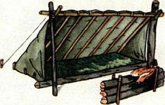 Действия потерпевших бедствие в тайге, строительство временных укрытий, добыча огня, разведение костра